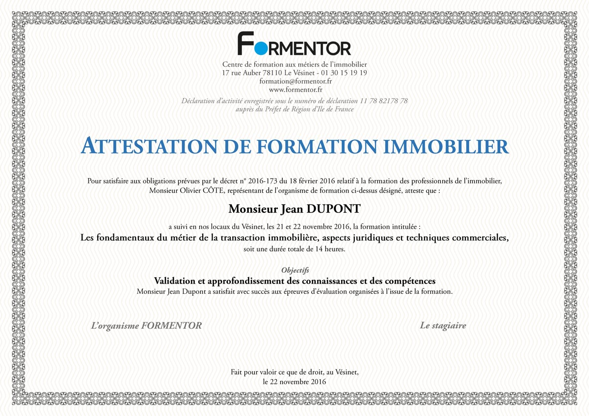 Exemple d'attestation de formation